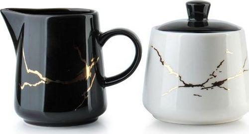 Affek Design Porcelanowa Cukiernica i Mlecznik Odette Gold ze Złotymi Zdobieniami uniwersalny
