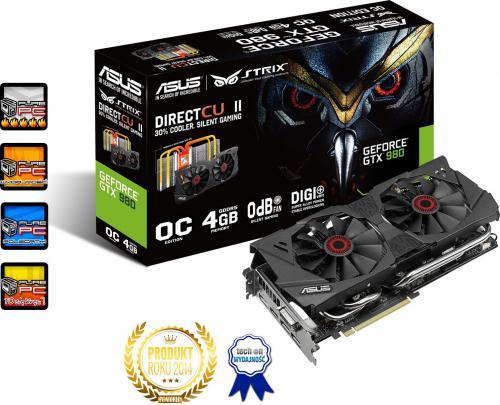 Karta graficzna Asus GeForce GTX 980 DC2 OC Strix 4GB GDDR5 (256 bit) DVI, HDMI, 3x DP (STRIX-GTX980-DC2OC-4GD5)