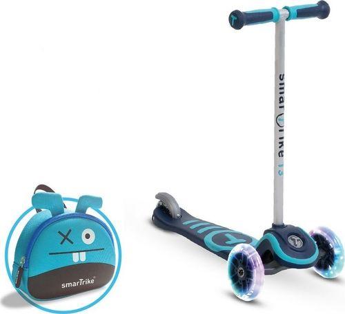 Smart Trike Hulajnoga Scooter T3 + świecące koła LED + torba niebieska