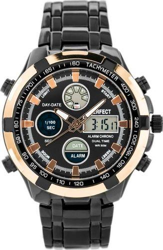Zegarek Perfect ZEGAREK MĘSKI PERFECT CARRERA (zp121i) - black/rose gold uniwersalny
