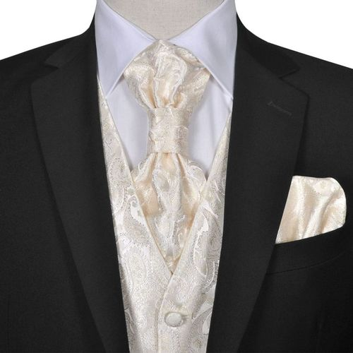 vidaXL Męska kamizelka ślubna ze wzorem z krawatką i chusteczką rozm. 52 Krem