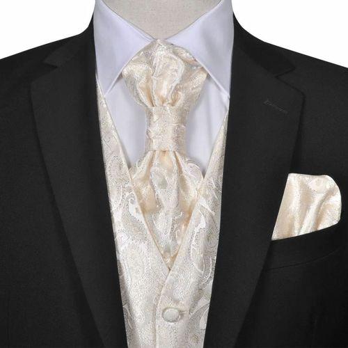 vidaXL Męska kamizelka ślubna ze wzorem z krawatką i chusteczką rozm. 54 Krem