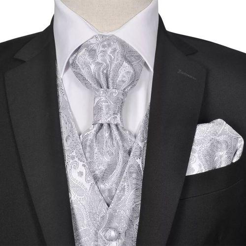 vidaXL Męska kamizelka ślubna z kwiatowym wzorem w zestawie rozm. 50 Srebrna