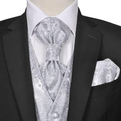 vidaXL Męska kamizelka ślubna z akcesoriami, wzór paisley, 54, srebrna