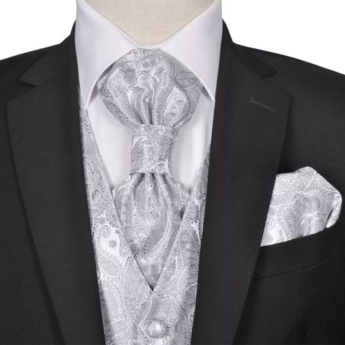 vidaXL Męska kamizelka ślubna z kwiatowym wzorem w zestawie rozm. 56 Srebrna