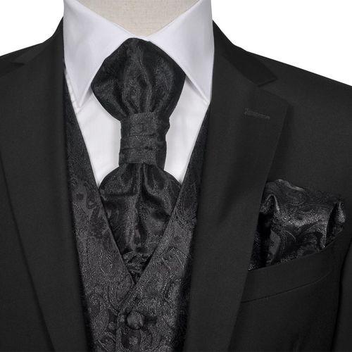 vidaXL Męska kamizelka ślubna z kwiatowym wzorem w zestawie rozm. 50 Czarna
