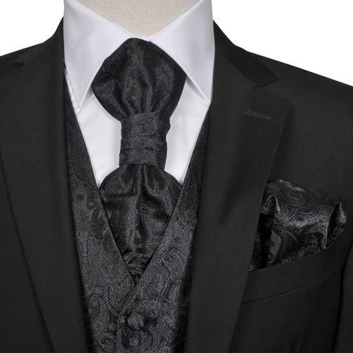 vidaXL Męska kamizelka ślubna z kwiatowym wzorem w zestawie rozm. 52 Czarna (130840) - 130840