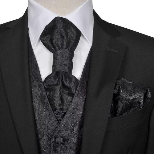 vidaXL Męska kamizelka ślubna z kwiatowym wzorem w zestawie rozm. 52 Czarna
