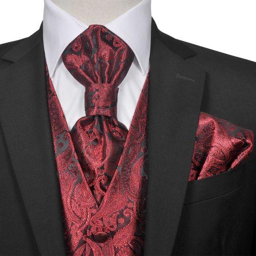 vidaXL Męska kamizelka ślubna z akcesoriami, wzór paisley, 52, burgund