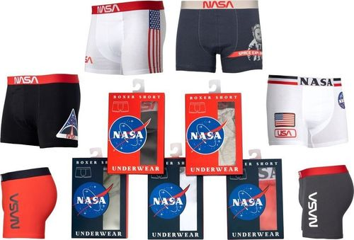 NASA Bokserki męskie Boxer Basic-Stripe Red r. L