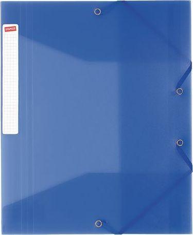 Staples Teczka PP z gumką A4+ 25mm przezroczysty niebieski