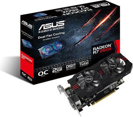 Karta graficzna Asus Radeon R7 260X OC, 2GB GDDR5 (128 Bit), HDMI, 2xDVI, DP, BOX (R7260X-OC-2GD5)