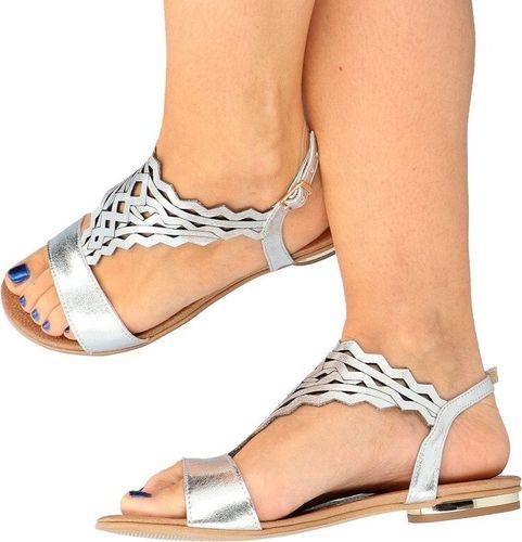 Tymoteo TYMOTEO 2856 SREBRNE - Płaskie sandały ażurowe 35