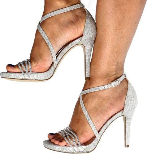 Menbur MENBUR 21598 SREBRNE - Błyszczące sandały 40