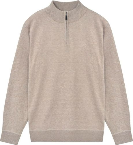 vidaXL Sweter męski z suwakiem, beżowy, rozmiar XL