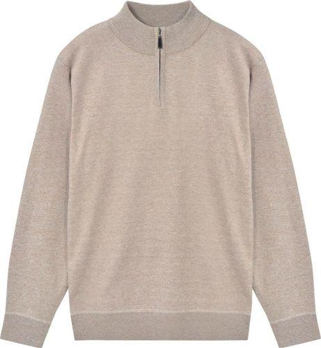 vidaXL Sweter męski z suwakiem, beżowy, rozmiar L