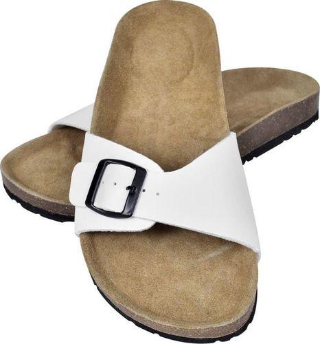vidaXL Białe sandały z korkową podeszwą i 1 paskiem rozmiar 37