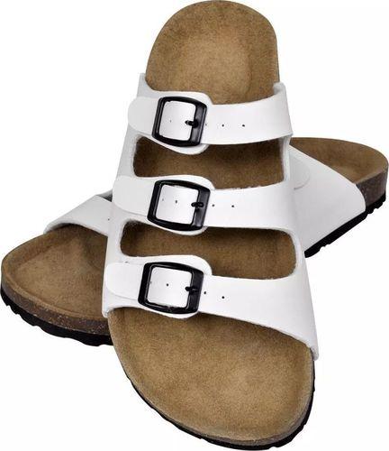 vidaXL Białe sandały z korkową podeszwą i 3 paskami rozmiar 41