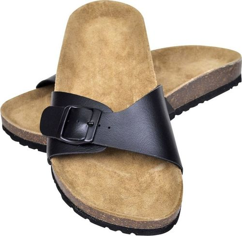 vidaXL Czarne sandały z korkową podeszwą i 1 paskiem rozmiar 39