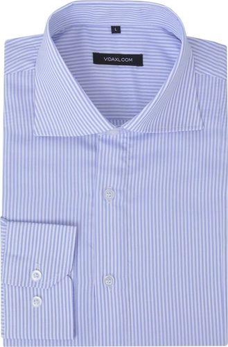 vidaXL Męska koszula biznesowa biała w błękitne paski rozmiar XL