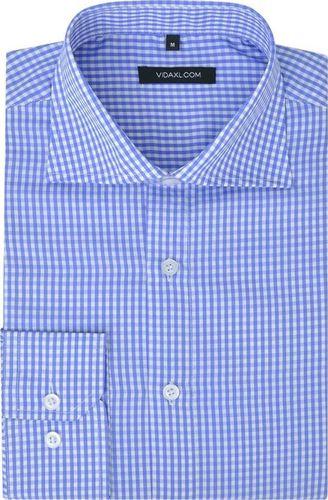 vidaXL Męska koszula biznesowa biała w błękitną kratkę rozmiar S