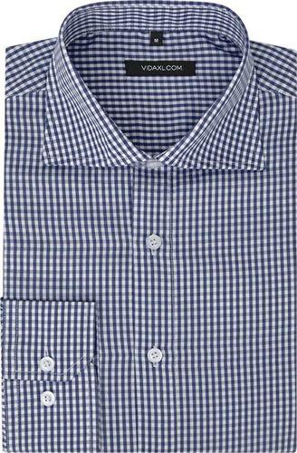 vidaXL Męska koszula biznesowa w biało-granatową kratę rozmiar XL