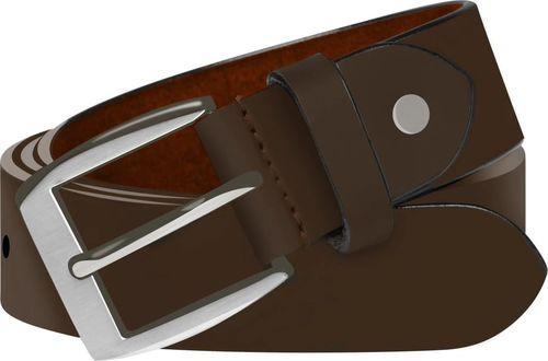 vidaXL Męski pasek biznesowy, skórzany, brązowy, 125 cm