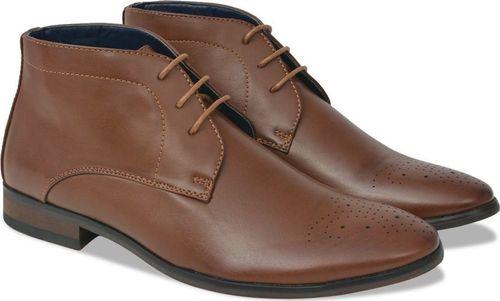 vidaXL Męskie sznurowane buty, brązowe, rozmiar 43, skóra sztuczna