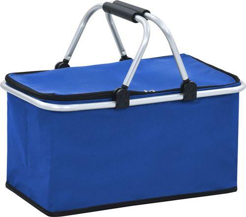 vidaXL Składana torba termiczna, niebieska, 46x27x23 cm, aluminium