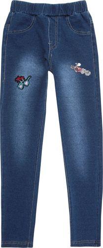 TXM TXM Spodnie dziewczęce jegginsy, z naszywkami 16 JEANSOWY