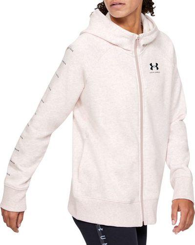 Under Armour Bluza damska Rival Fleece Sportstyle LC Sleeve Graphic Full Zip różowa r. M (1348559-667)