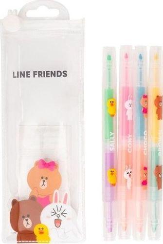 Line Friends LINE FRIENDS - Komplet 4 zakreślaczy uniwersalny