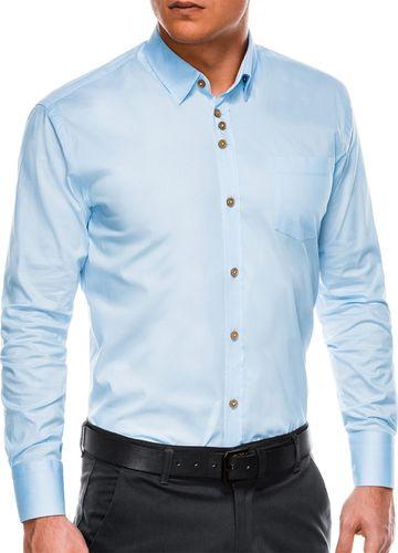 Ombre Koszula męska elegancka z długim rękawem K302 - błękitna S