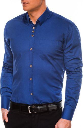 Ombre Koszula męska elegancka z długim rękawem K302 - jasnogranatowa S