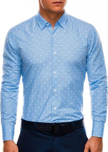 Ombre Koszula męska elegancka z długim rękawem K463 - błękitna M