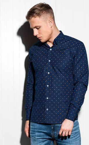 Ombre Koszula męska elegancka z długim rękawem K463 - ciemnogranatowa L
