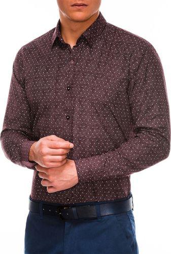 Ombre Koszula męska elegancka z długim rękawem K466 - bordowa/biała M