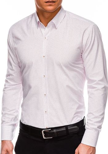 Ombre Koszula męska elegancka z długim rękawem K468 - biała/czerwona S