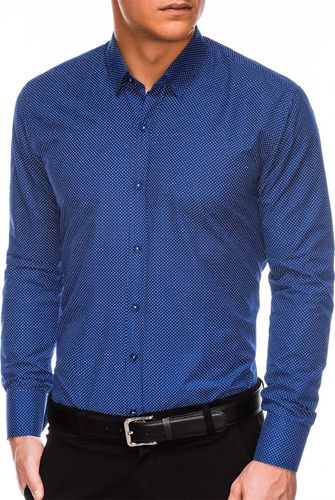 Ombre Koszula męska elegancka z długim rękawem K468 - jasnogranatowa/biała  L