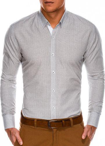 Ombre Koszula męska elegancka z długim rękawem K469 - biała/brązowa S