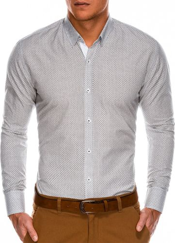 Ombre Koszula męska elegancka z długim rękawem K469 - biała/brązowa XL