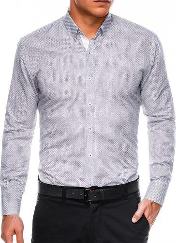 Ombre Koszula męska elegancka z długim rękawem K469 - biała/czerwona L