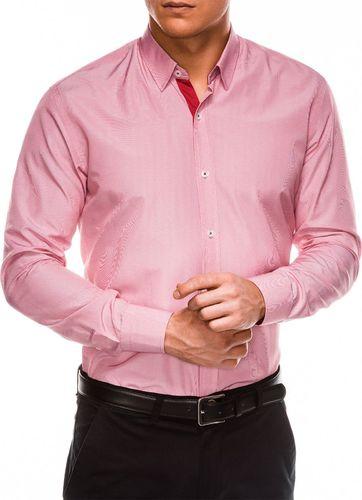 Ombre Koszula męska elegancka z długim rękawem K472 - biała/czerwona M