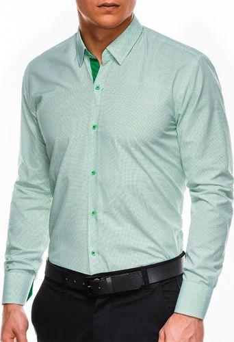 Ombre Koszula męska elegancka z długim rękawem K478 - biała/zielona L