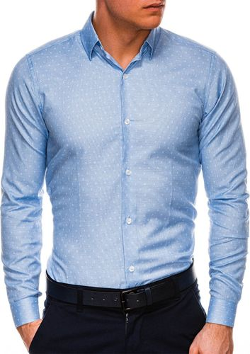 Ombre Koszula męska elegancka z długim rękawem K528 - błękitna XL