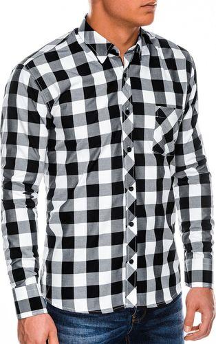 Ombre Koszula męska w kratę z długim rękawem K282 - czarna S
