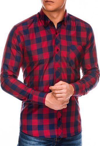 Ombre Koszula męska w kratę z długim rękawem K282 - czerwono-granatowa S