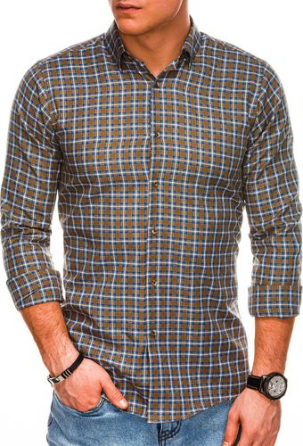 Ombre Koszula męska w kratę z długim rękawem K520 - brązowa M