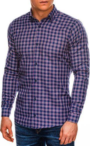 Ombre Koszula męska w kratę z długim rękawem K520 - fioletowa M
