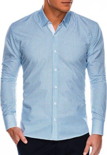 Ombre Koszula męska z długim rękawem K467 - niebieska/zielona M
